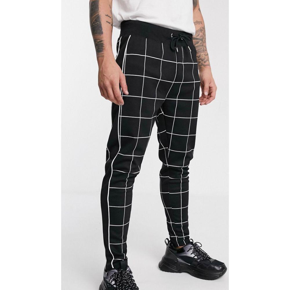 トップマン Topman メンズ ボトムス・パンツ 【trousers in window pane check】Black