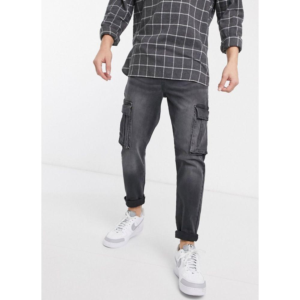 ニュールック New Look メンズ ジーンズ・デニム ボトムス・パンツ【tapered jeans with cargo pockets in washed black】Black
