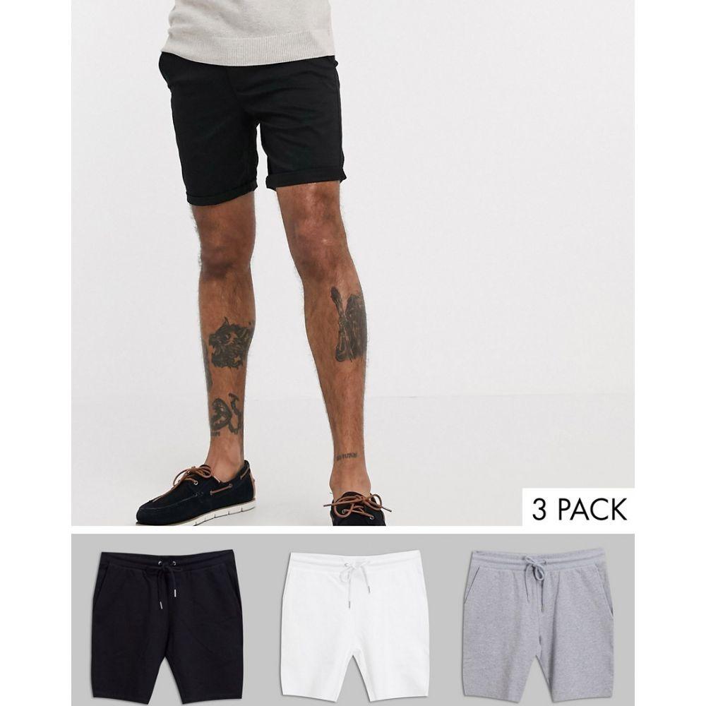 エイソス ASOS DESIGN メンズ ショートパンツ 3点セット ボトムス・パンツ【3 pack jersey skinny shorts in black/grey marl/white save】Blk/gy/white