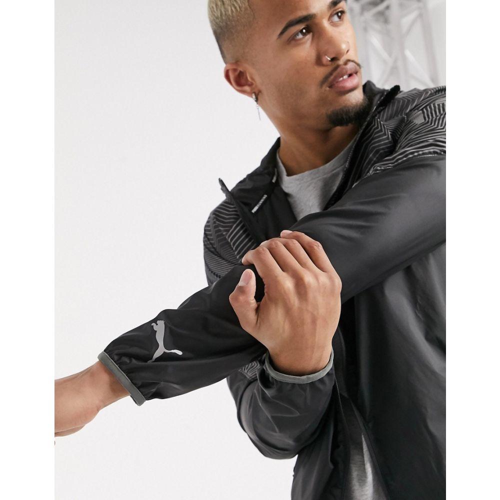 プーマ Puma メンズ ランニング・ウォーキング ジャケット アウター【Running graphic logo jacket in black】Black