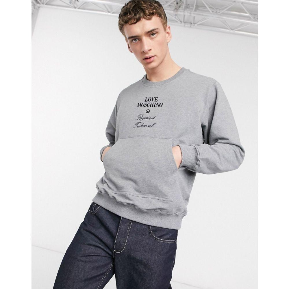 モスキーノ Love Moschino メンズ スウェット・トレーナー トップス【embroidered crew neck sweat】Grey