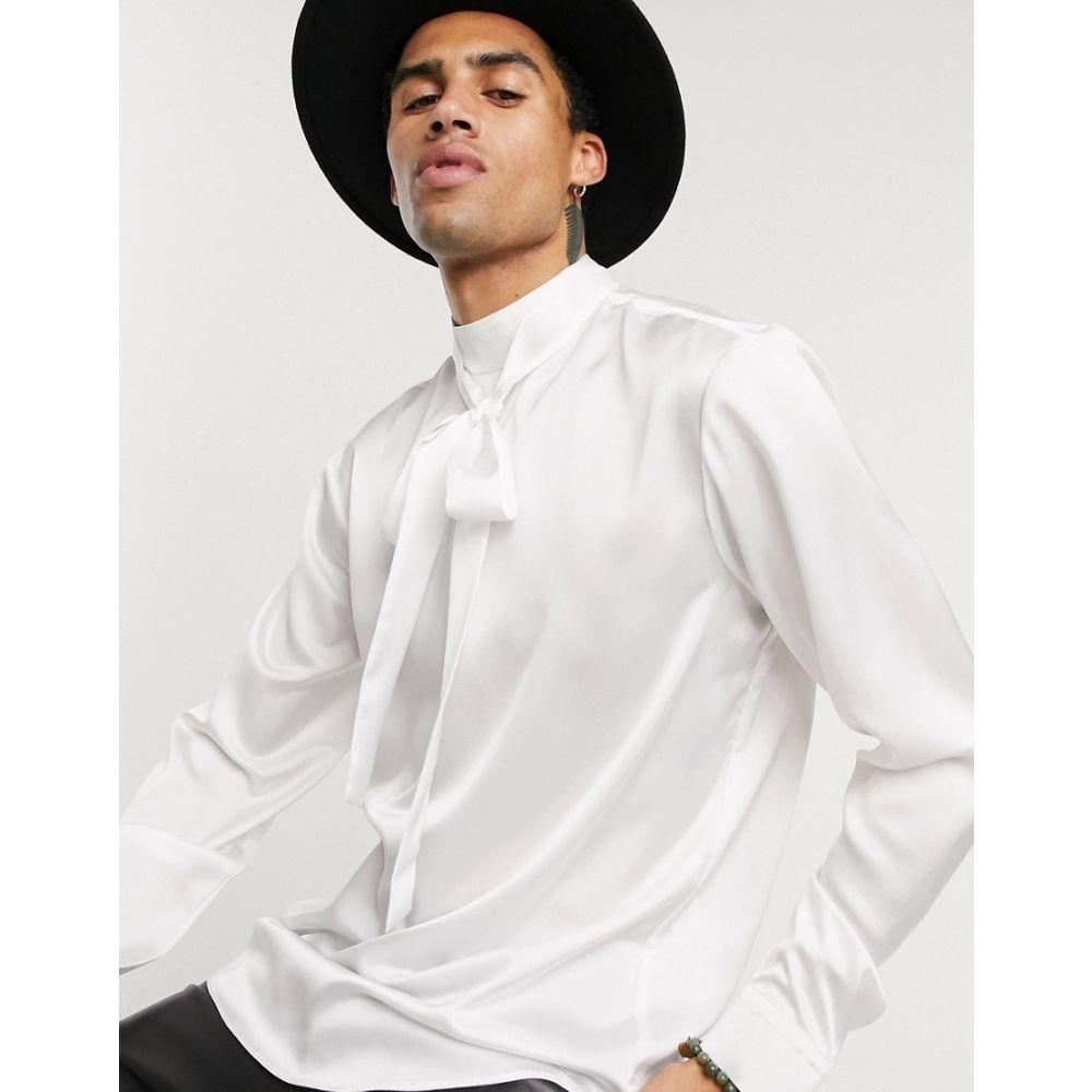 エイソス ASOS DESIGN メンズ シャツ トップス【regular fit tie front satin shirt in off white】Off white