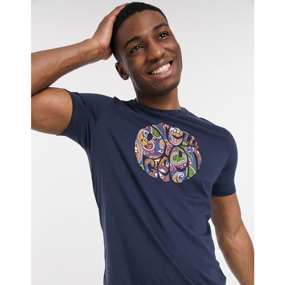 プリティー グリーン Pretty Green メンズ Tシャツ トップス【paisley print logo t-shirt in navy】Navy