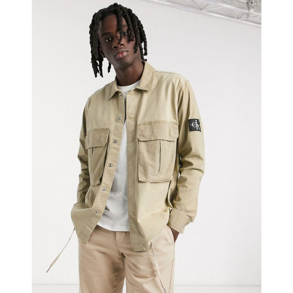 カルバンクライン Calvin Klein Jeans メンズ ジャケット オーバーシャツ アウター【utility mix media overshirt in beige】Plaza taupe