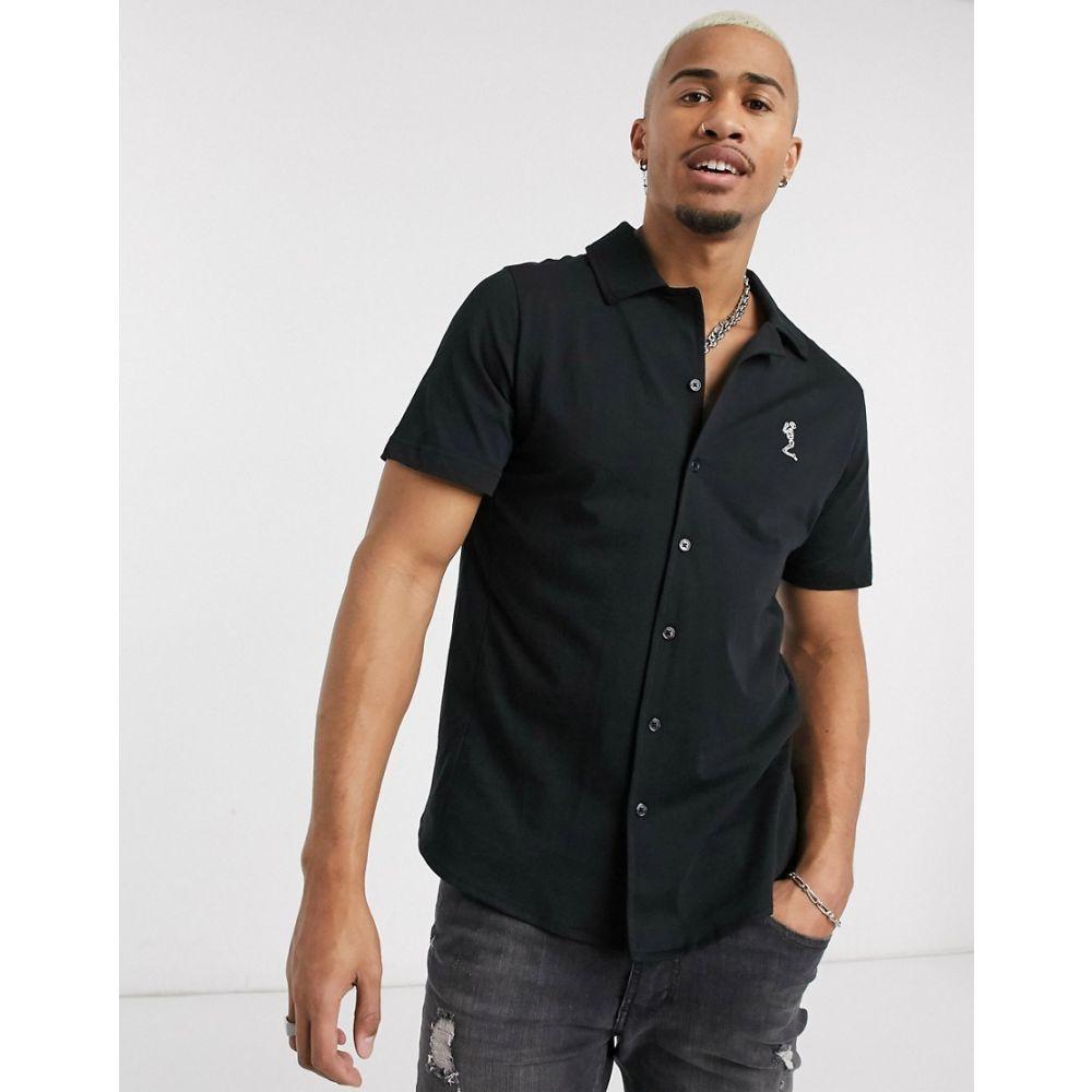 レリジョン Religion メンズ シャツ トップス【revere collar jersey shirt in black】Black