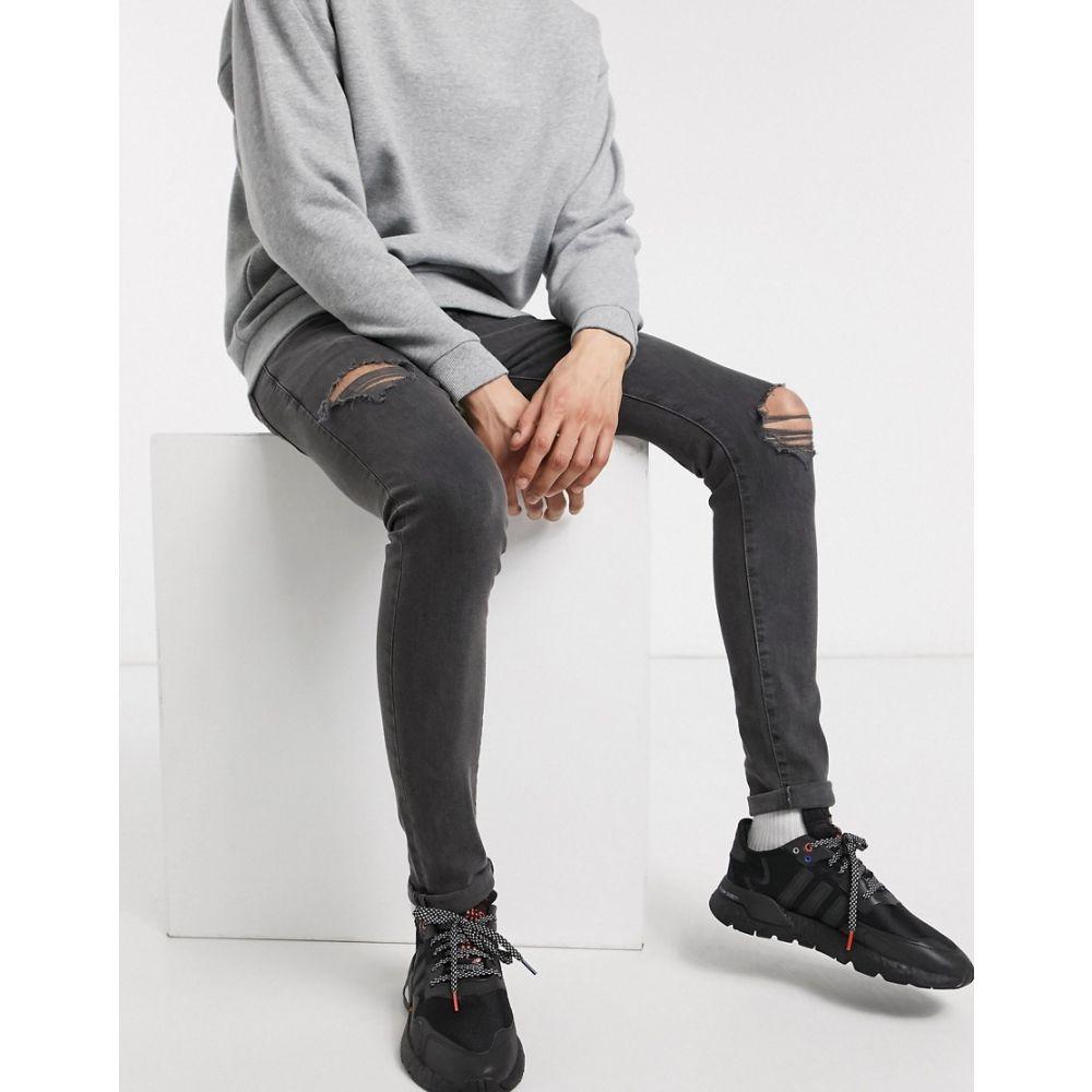ニュールック New Look メンズ ジーンズ・デニム ボトムス・パンツ【super skinny jeans with rips in grey】Mid grey