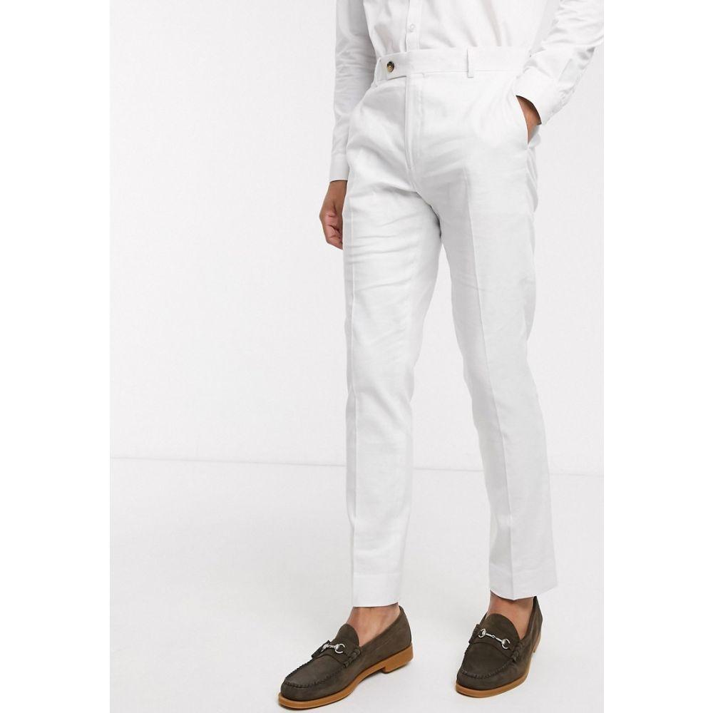 エイソス ASOS DESIGN メンズ スラックス ボトムス・パンツ【wedding skinny suit trousers in stretch cotton linen in dove grey】Grey