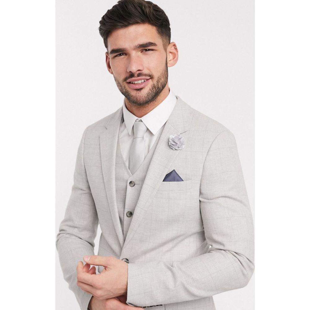 エイソス ASOS DESIGN メンズ スーツ・ジャケット アウター【wedding super skinny suit jacket in stretch cotton linen in grey check】Grey