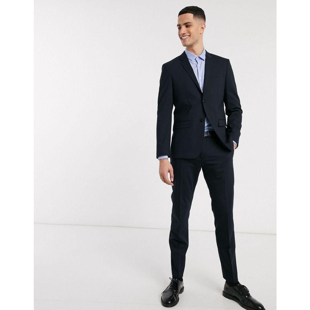 カルバンクライン Calvin Klein メンズ スラックス ボトムス・パンツ【Paris stretch wool suit trousers】Navy