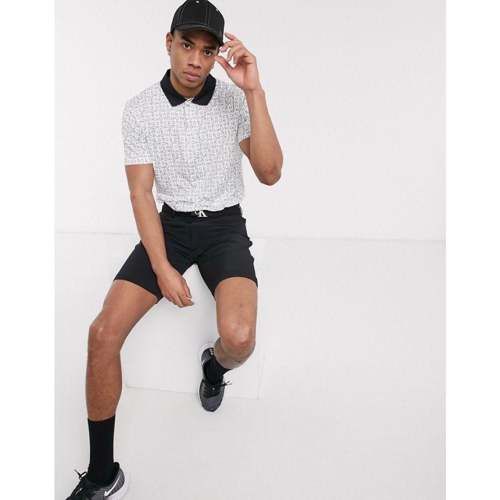カルバンクライン Calvin Klein Golf メンズ ポロシャツ トップス【polo shirt with all over geo CK print in white】White