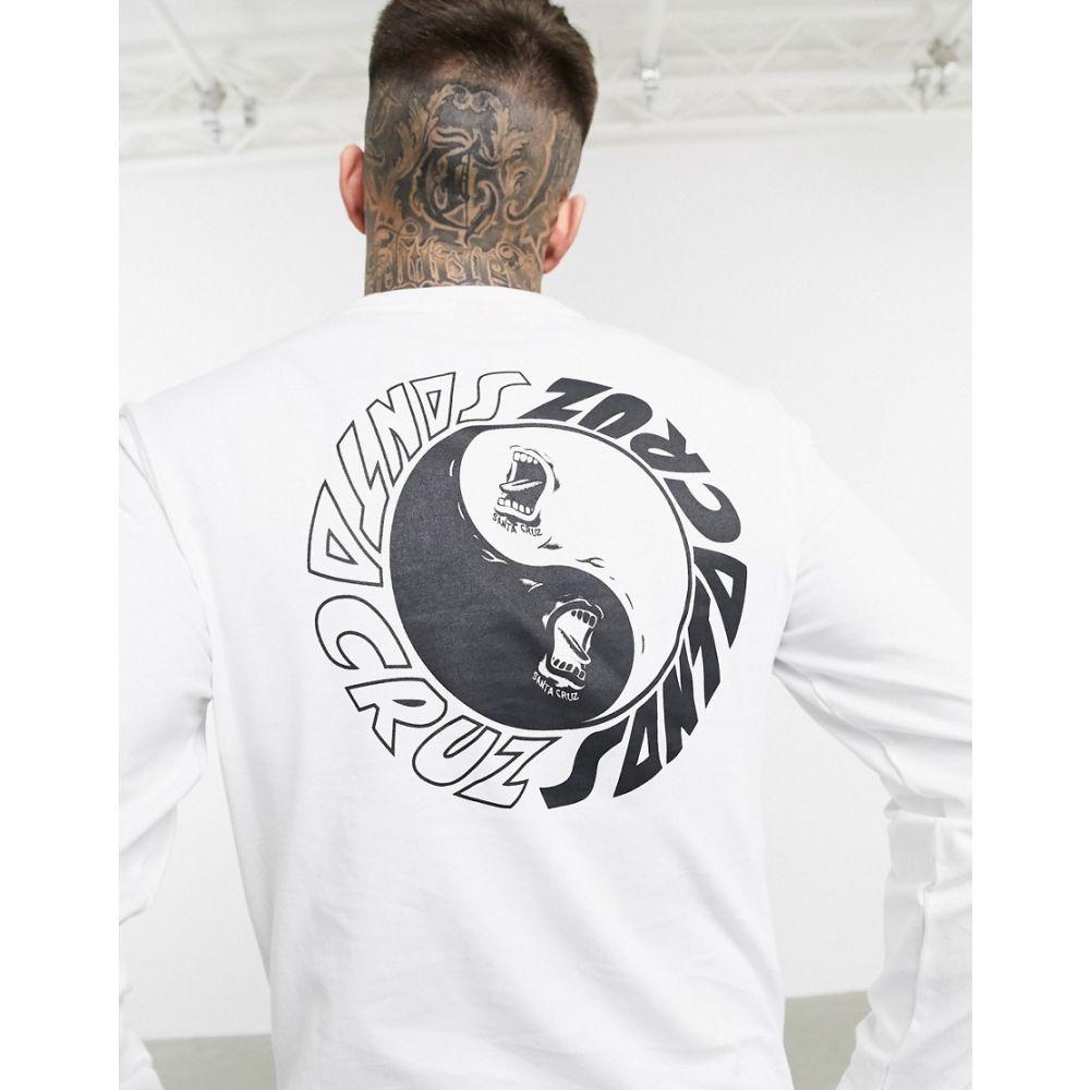 サンタクルーズ Santa Cruz メンズ 長袖Tシャツ トップス【Scream Ying Yang long sleeve t-shirt in white】White