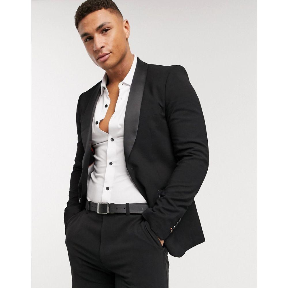アヴェイルロンドン AVAIL London メンズ スーツ・ジャケット タキシード アウター【Avail London skinny fit tuxedo jacket in black】Black