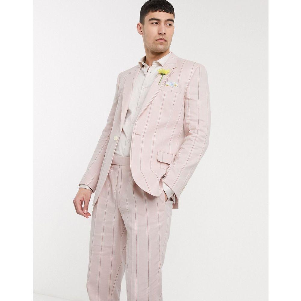 エイソス ASOS DESIGN メンズ スーツ・ジャケット アウター【wedding slim suit jacket in stretch cotton linen in pink and white stripe】Pink
