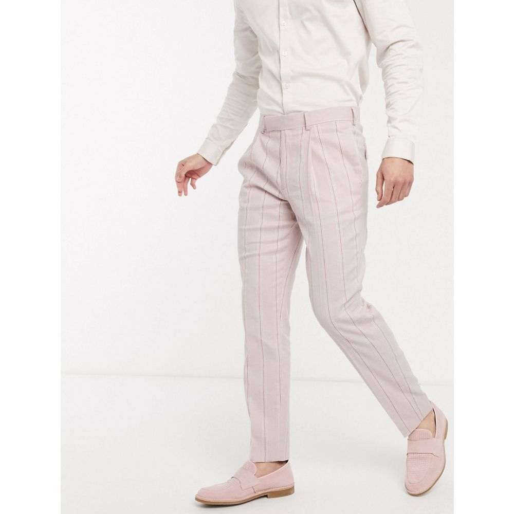 エイソス ASOS DESIGN メンズ スラックス ボトムス・パンツ【wedding slim suit trousers in stretch cotton linen in pink and white stripe】Pink