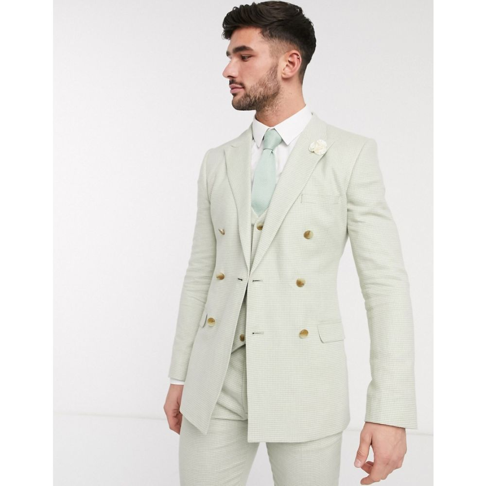 エイソス ASOS DESIGN メンズ スーツ・ジャケット アウター【wedding super skinny double breasted suit jacket in stretch cotton linen in mint houndstooth】Green