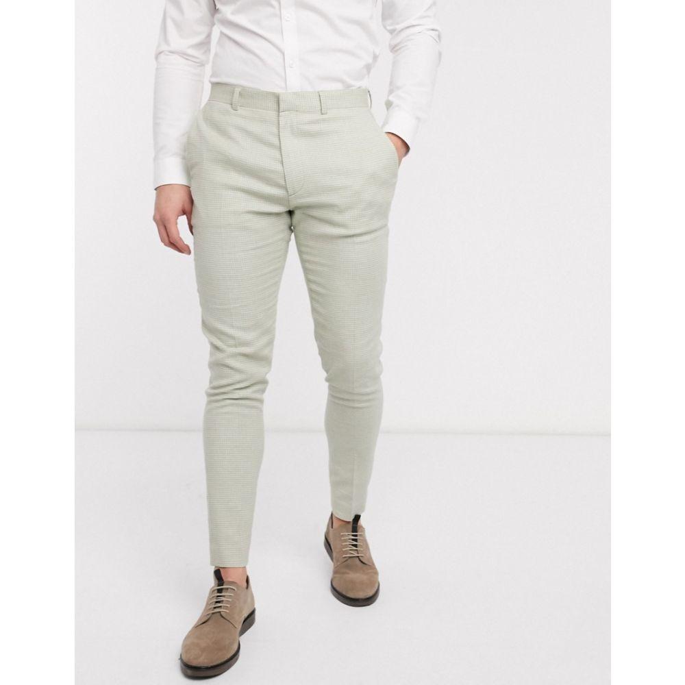 エイソス ASOS DESIGN メンズ スラックス ボトムス・パンツ【wedding super skinny suit trousers in stretch cotton linen in mint houndstooth】Green