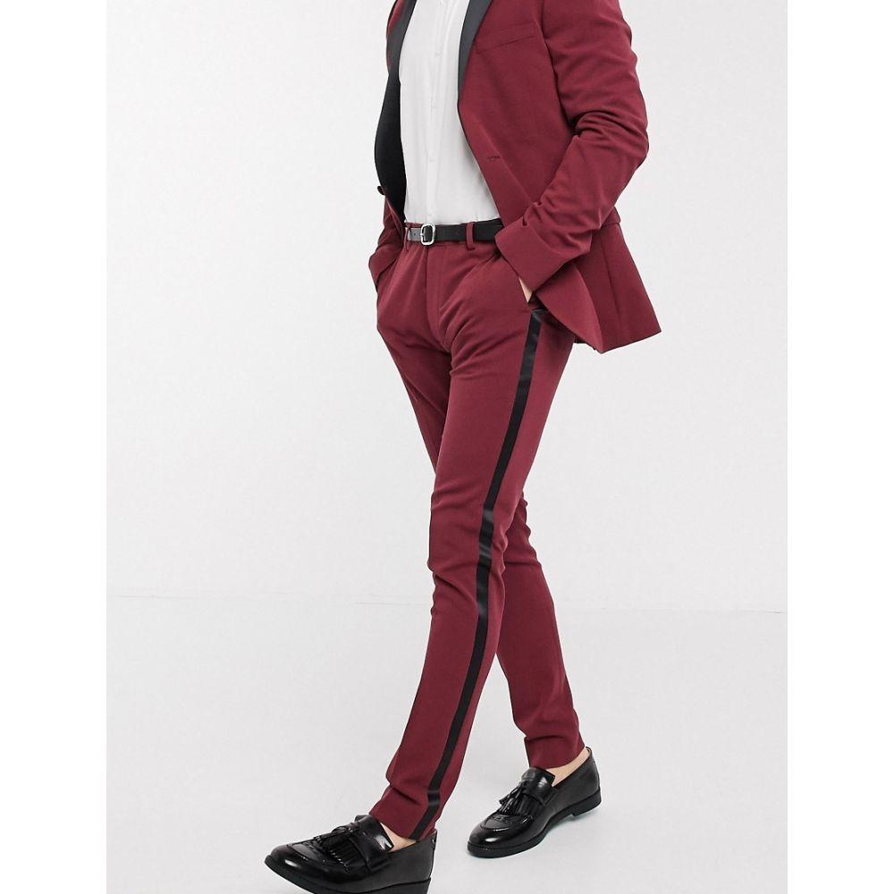 エイソス ASOS DESIGN メンズ スラックス タキシード ボトムス・パンツ【super skinny tuxedo suit trousers in burgundy】Red