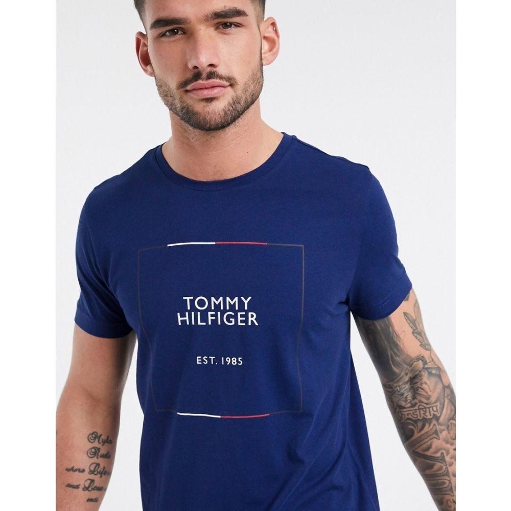 トミー ヒルフィガー Tommy Hilfiger メンズ Tシャツ トップス【icon box outline logo t-shirt in blue ink】Blue ink