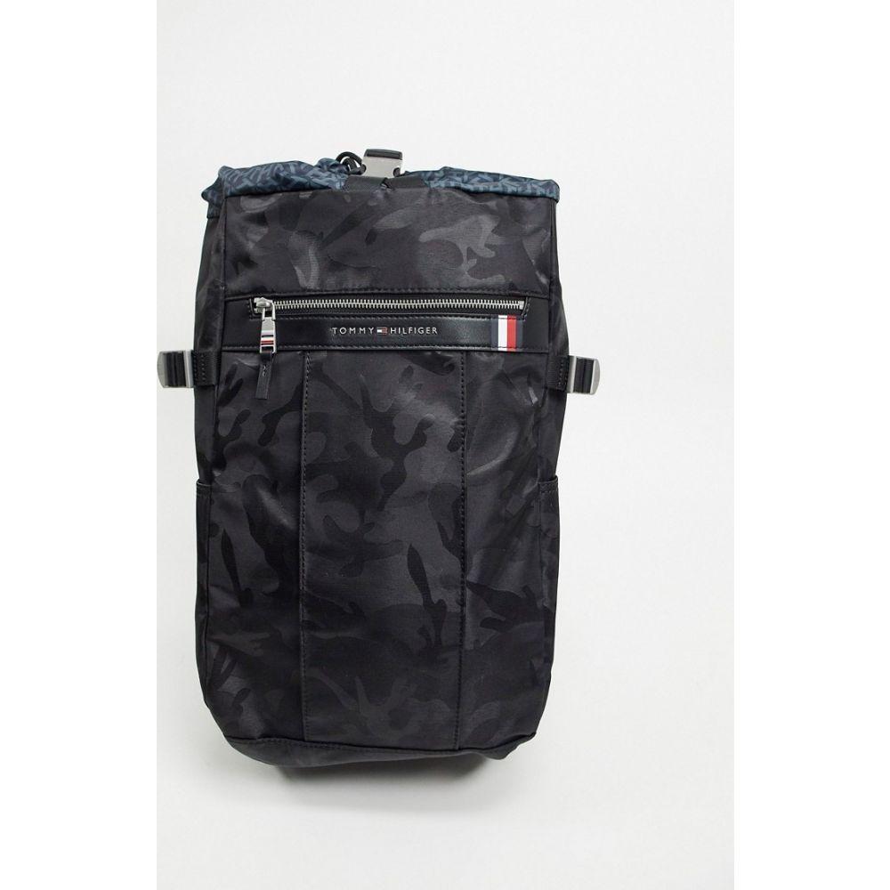 トミー ヒルフィガー Tommy Hilfiger メンズ バックパック・リュック バッグ【elevated nylon camoflage drawstring backpack in black】Black camo