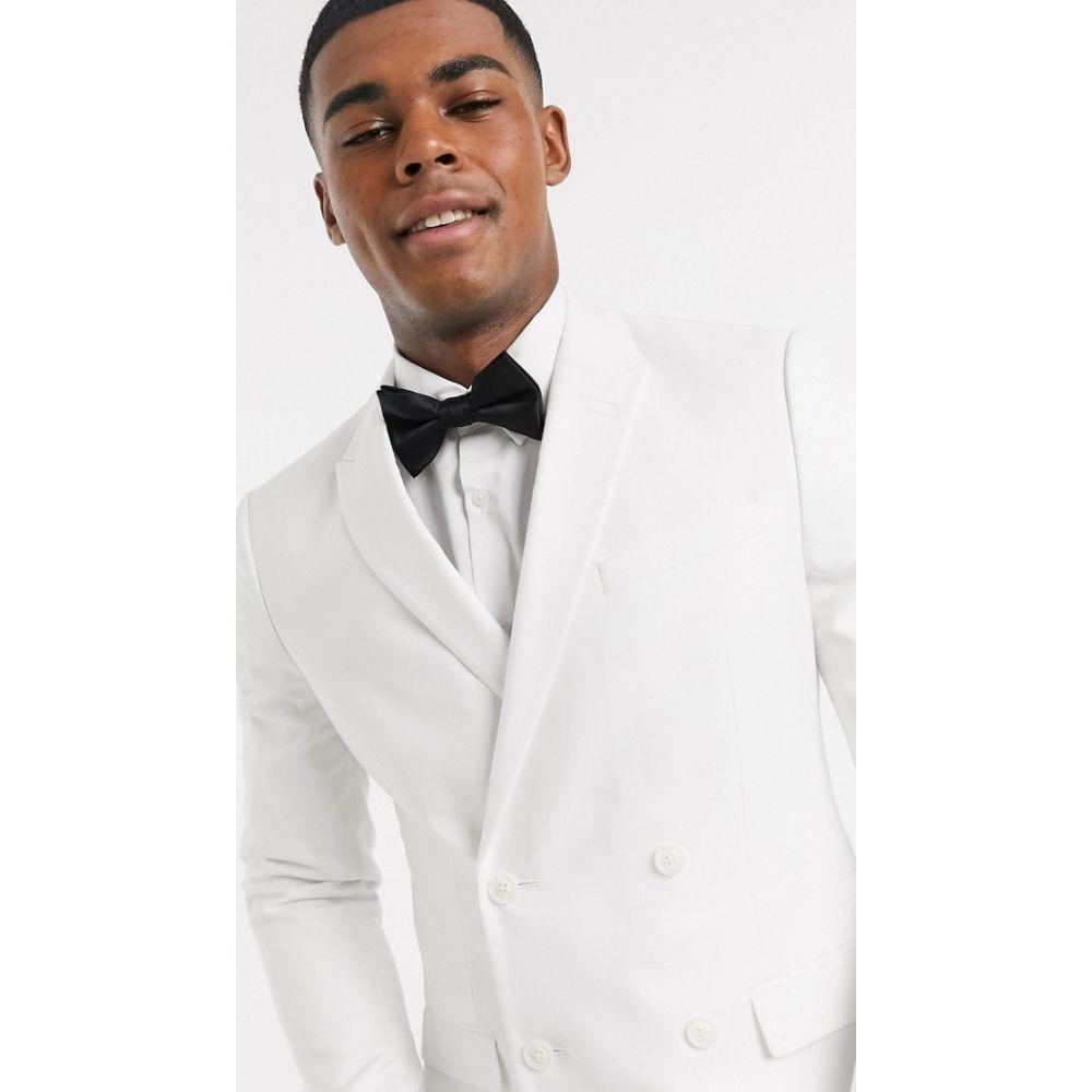 トップマン Topman メンズ スーツ・ジャケット アウター【skinny double breasted suit jacket in white】White