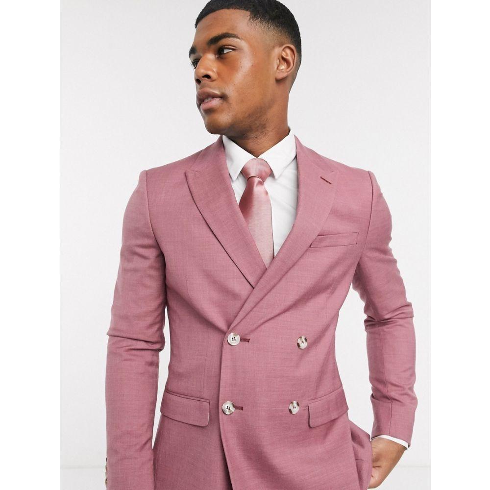 トップマン Topman メンズ スーツ・ジャケット アウター【skinny double breasted suit jacket in pink】Pink