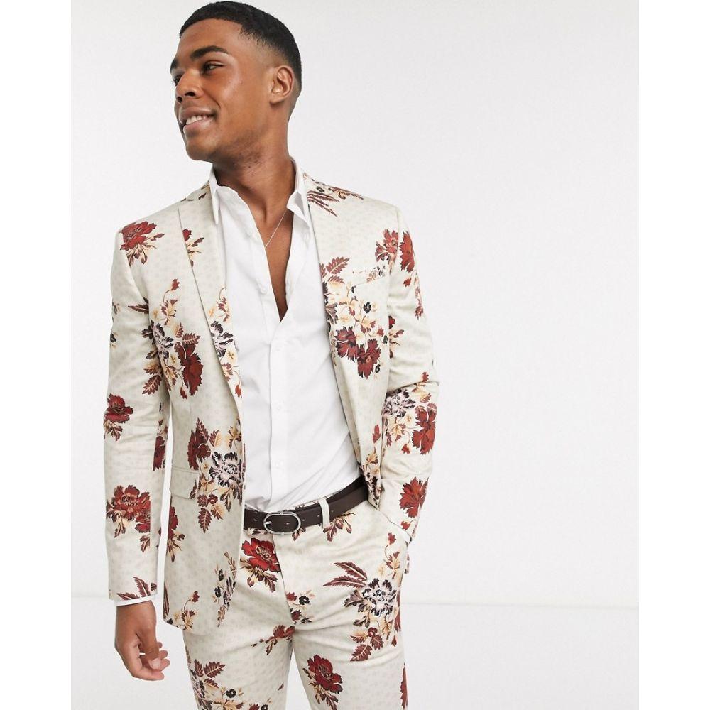 トップマン Topman メンズ スーツ・ジャケット アウター【skinny suit jacket in floral print】Stone