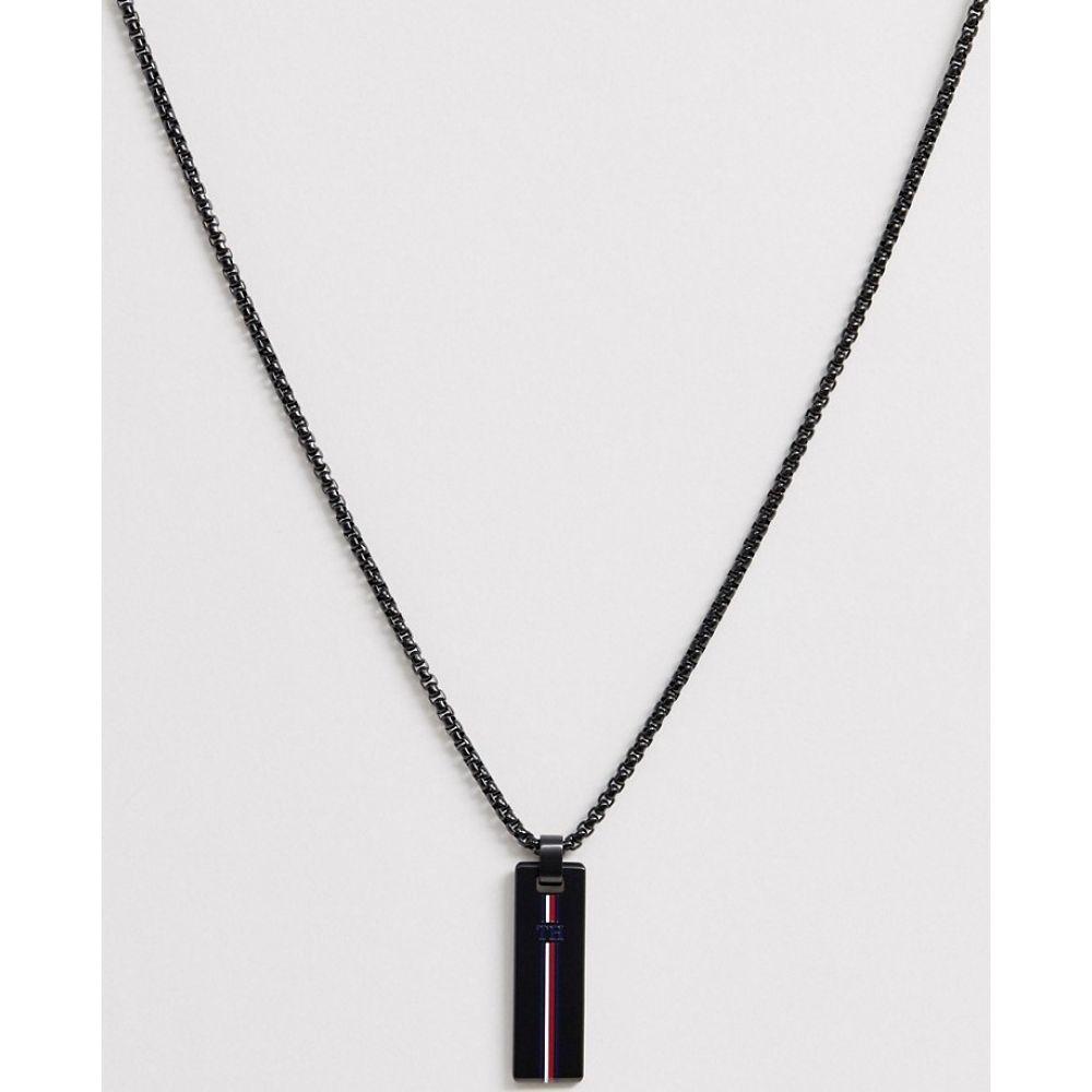 トミー ヒルフィガー Tommy Hilfiger メンズ ネックレス ジュエリー・アクセサリー【neck chain with branded pendant in black】Black