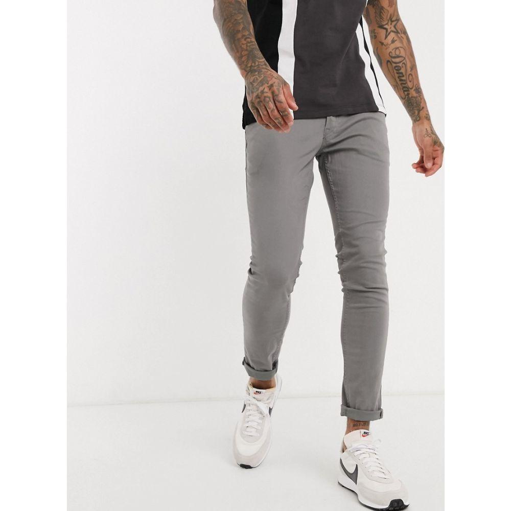 ジャック アンド ジョーンズ Jack & Jones メンズ スキニー・スリム ボトムス・パンツ【Intelligence skinny fit 5 pocket trousers in light grey】Grey