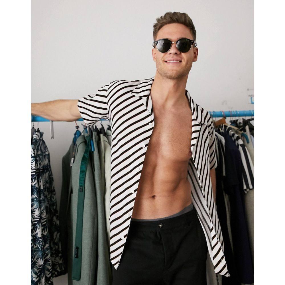ジャック アンド ジョーンズ Jack & Jones メンズ 半袖シャツ トップス【Premium short sleeve revere collar stripe shirt in white】Cloud dancer
