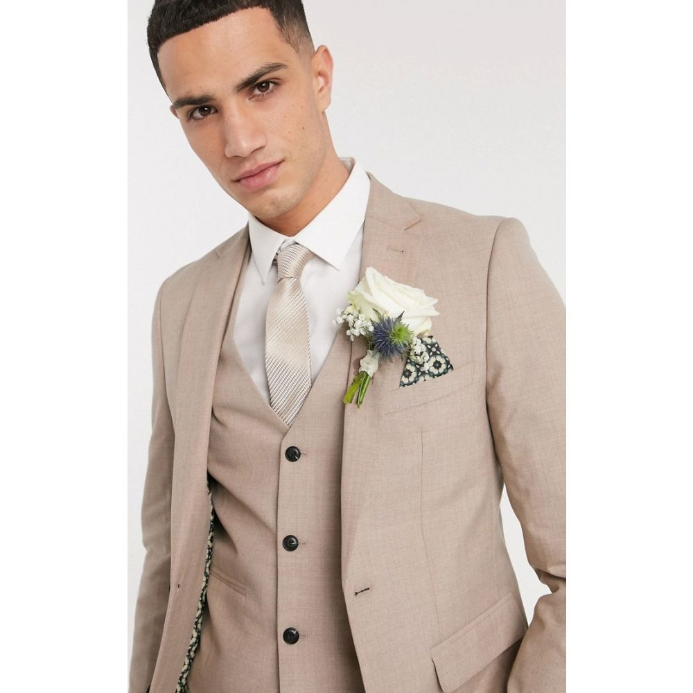 ハリー ブラウン Harry Brown メンズ スーツ・ジャケット アウター【slim fit plain suit jacket】Latte