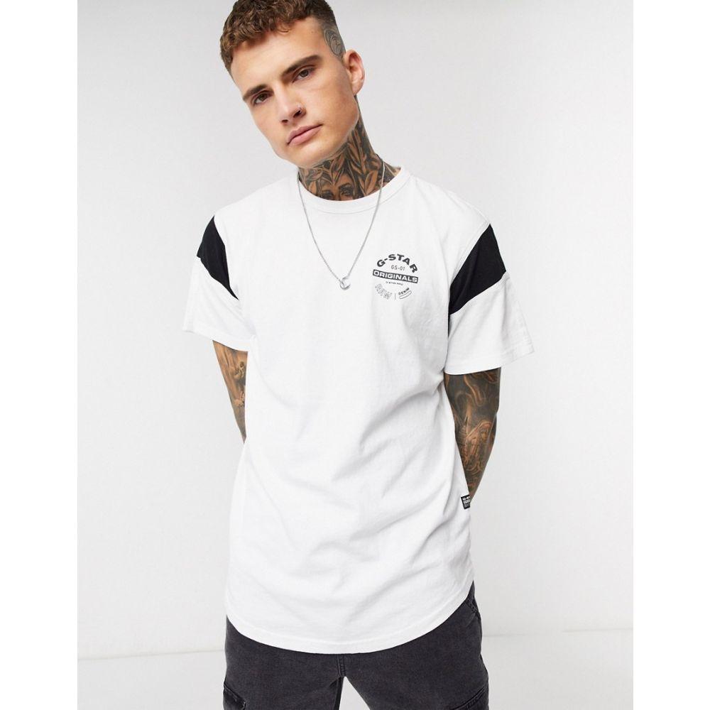 ジースター ロゥ G-Star メンズ Tシャツ トップス【Originals circle logo t-shirt with sport panel in white】White