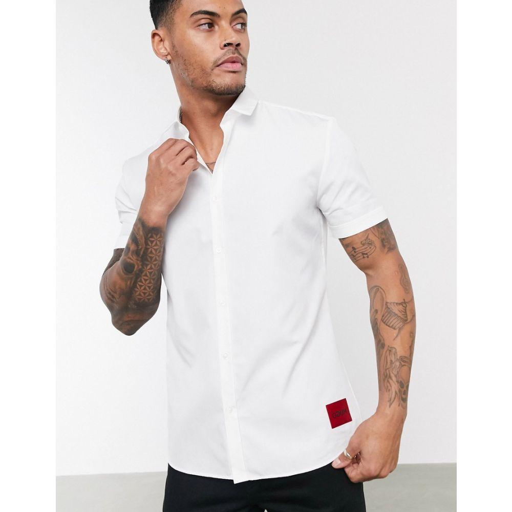 ヒューゴ ボス HUGO メンズ 半袖シャツ トップス【Empson-W short sleeve shirt in white】White