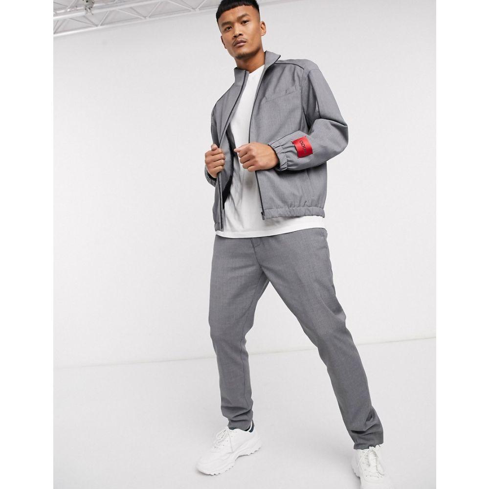 ヒューゴ ボス HUGO メンズ ブルゾン ミリタリージャケット アウター【Uris2021 pinstripe smart bomber jacket in grey】Grey