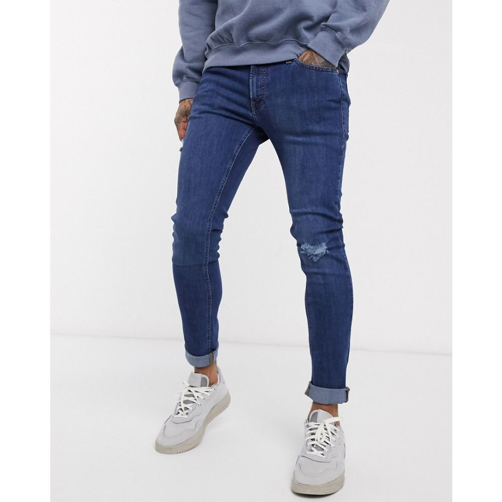 ジャック アンド ジョーンズ Jack & Jones メンズ ジーンズ・デニム リップドジーンズ ボトムス・パンツ【Intelligence skinny fit ripped jeans in dark blue】Dark blue