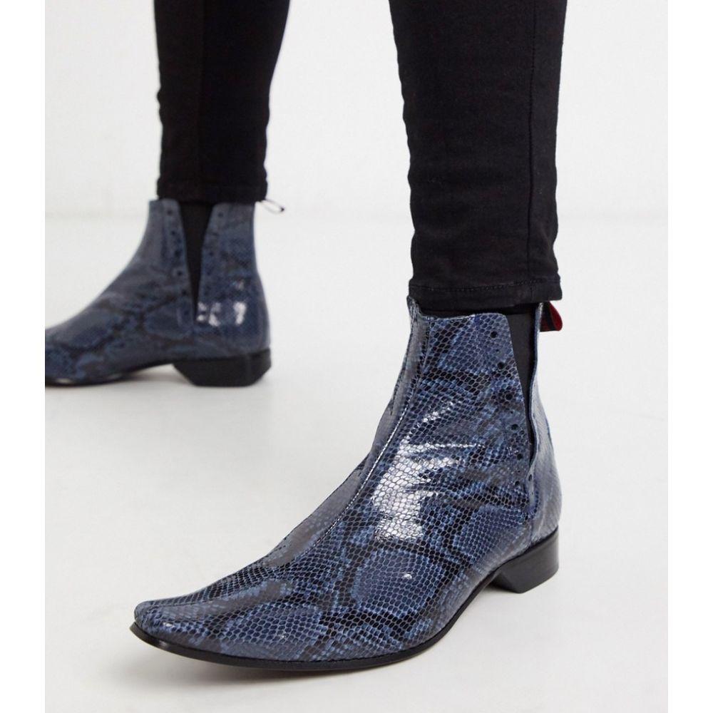 ジェフリー ウエスト Jeffery West メンズ ブーツ チェルシーブーツ シューズ・靴【pino chelsea boot in blue snake】Blue