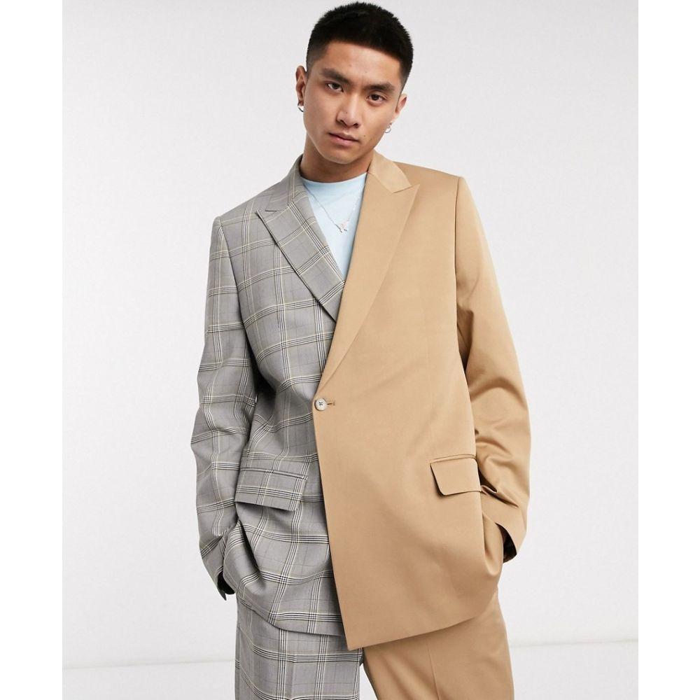 ジェイディッド ロンドン Jaded London メンズ スーツ・ジャケット アウター【spliced suit jacket with buckle in brown and grey check】Brown