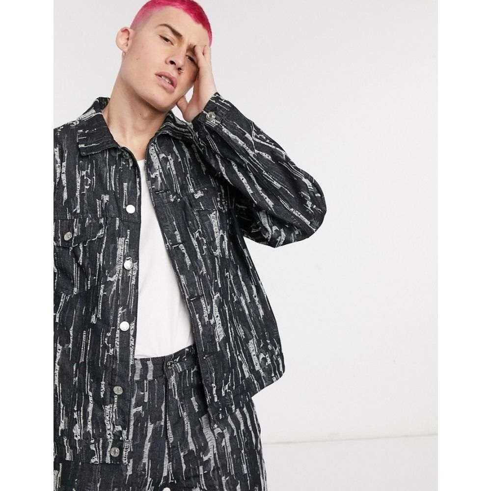 ジェイディッド ロンドン Jaded London メンズ ジャケット Gジャン アウター【co-ord drag ripped denim jacket in black】Black