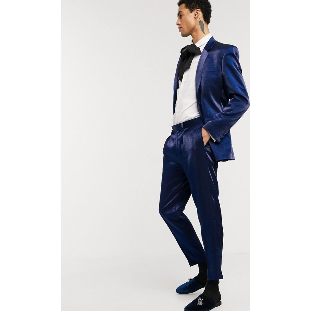 エイソス ASOS DESIGN メンズ スラックス ボトムス・パンツ【tapered suit trousers in deep blue high shine】Blue