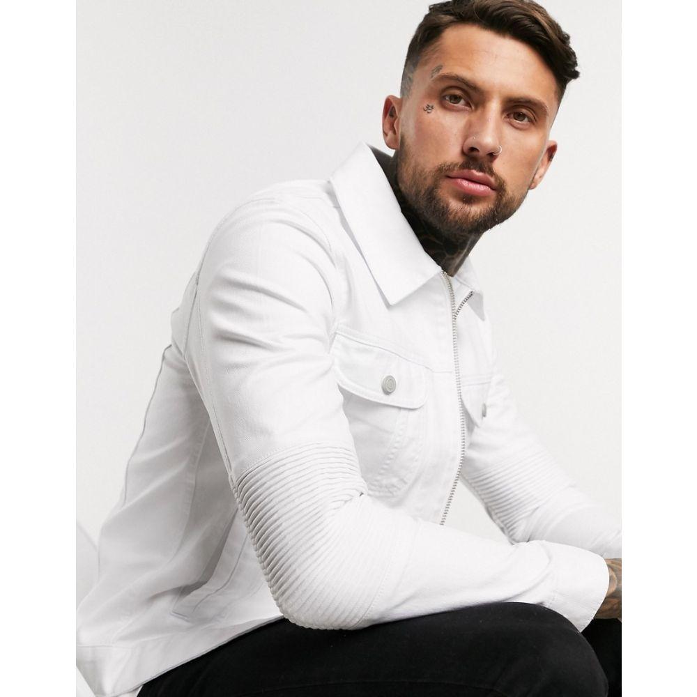 エイソス ASOS DESIGN メンズ ジャケット ライダース Gジャン アウター【denim jacket with biker panels in white】White