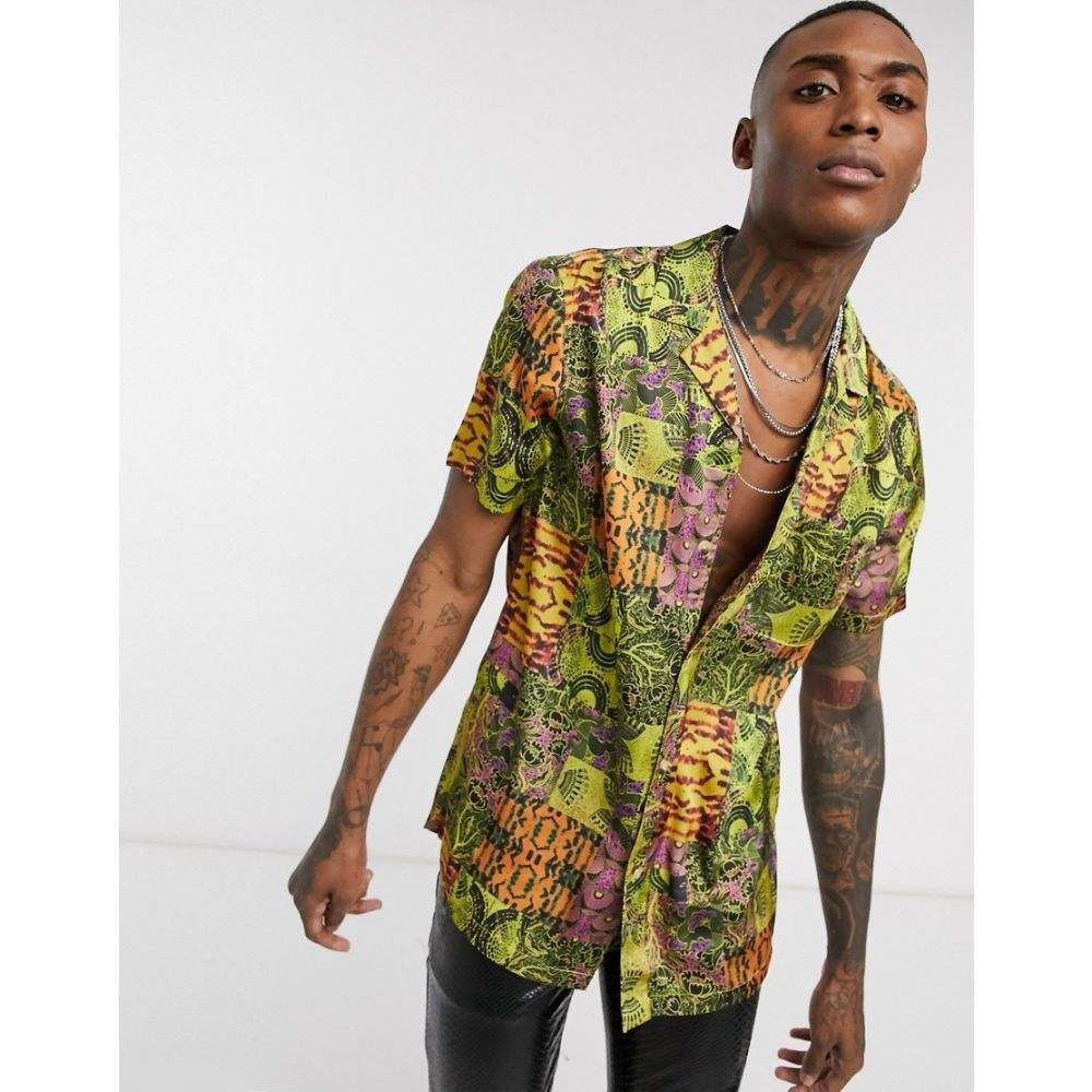 エイソス ASOS DESIGN メンズ シャツ トップス【revere collar regular fit satin shirt in aztec tile print】Purple