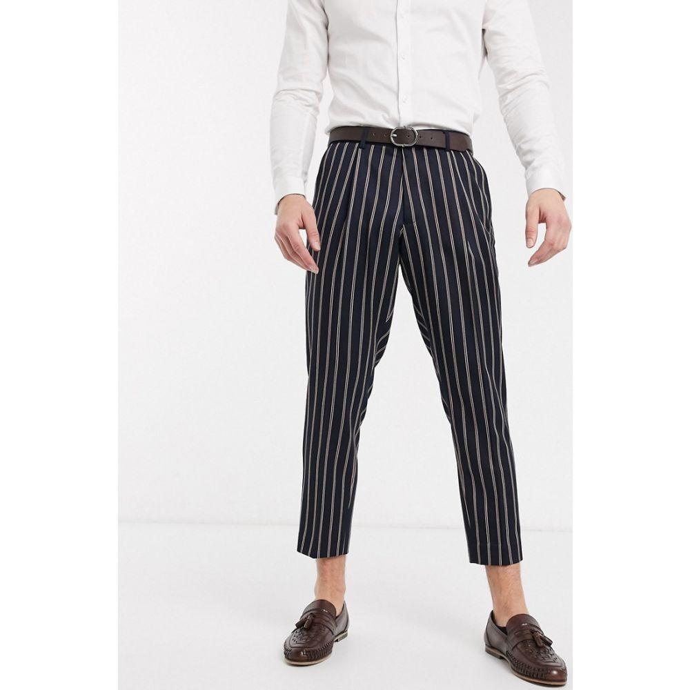 ハリー ブラウン Harry Brown メンズ クロップド ボトムス・パンツ【slim fit pleated crop stripe trouser】Navy