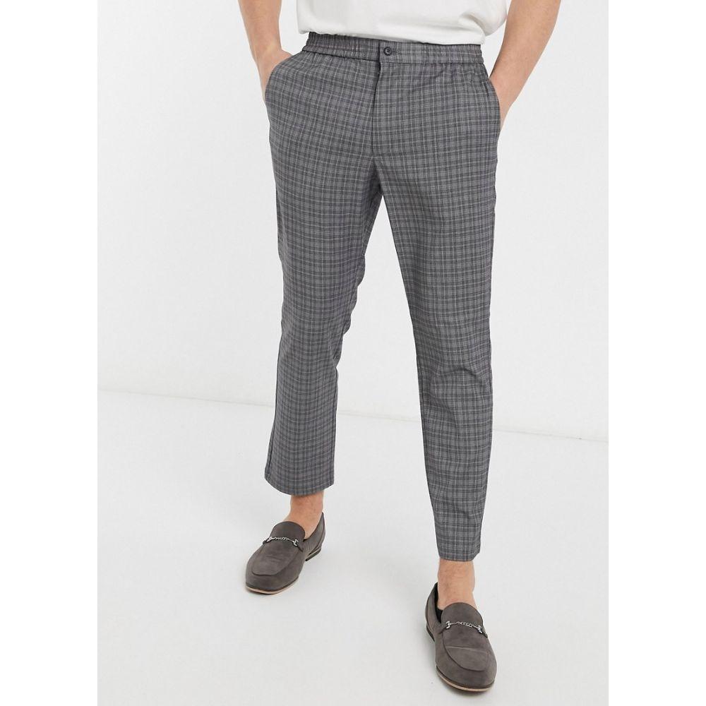ハリー ブラウン Harry Brown メンズ スキニー・スリム ボトムス・パンツ【slim fit elasticated waistband trouser】Grey