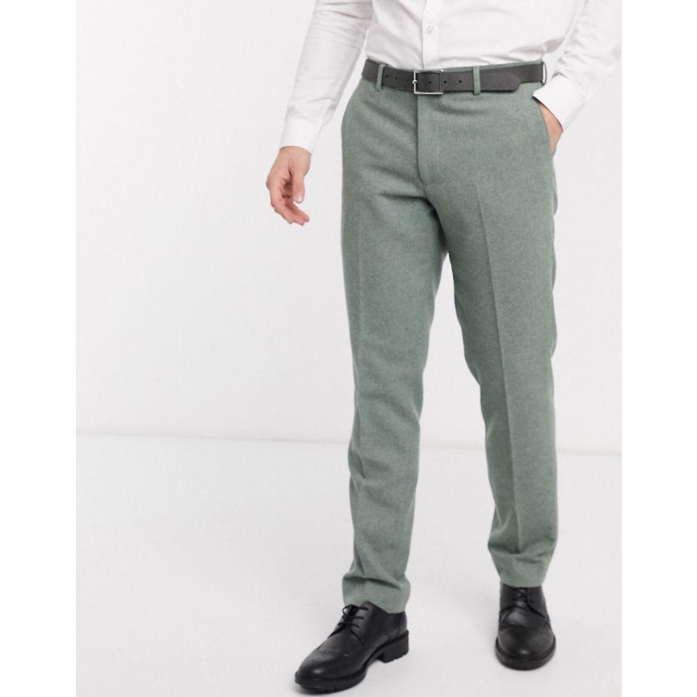 ハリー ブラウン Harry Brown メンズ スラックス ボトムス・パンツ【slim fit wedding summer tweed suit trouser】Green