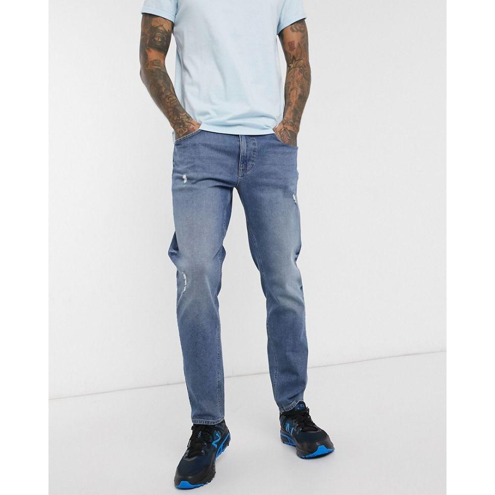 エイソス ASOS DESIGN メンズ ジーンズ・デニム ボトムス・パンツ【tapered jeans in mid wash blue with abrasions】Mid wash blue