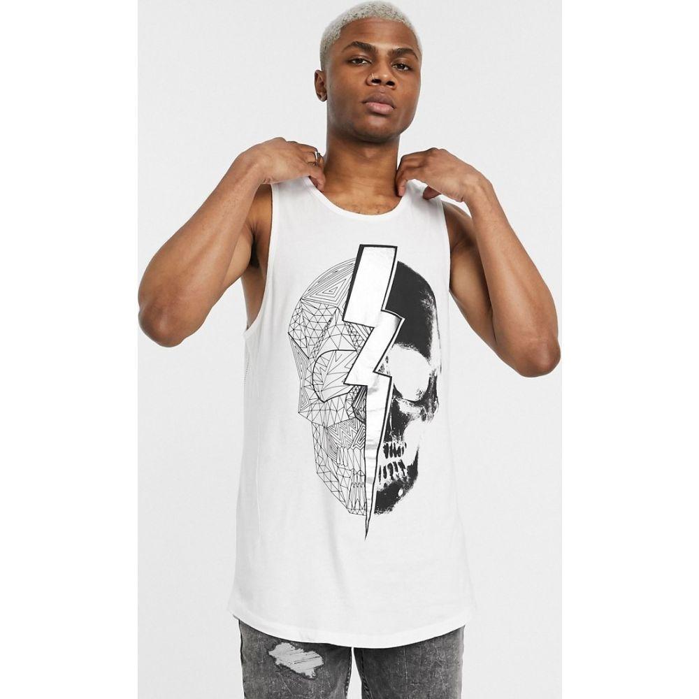 レリジョン Religion メンズ タンクトップ トップス【vest with lightning skull print in white】White