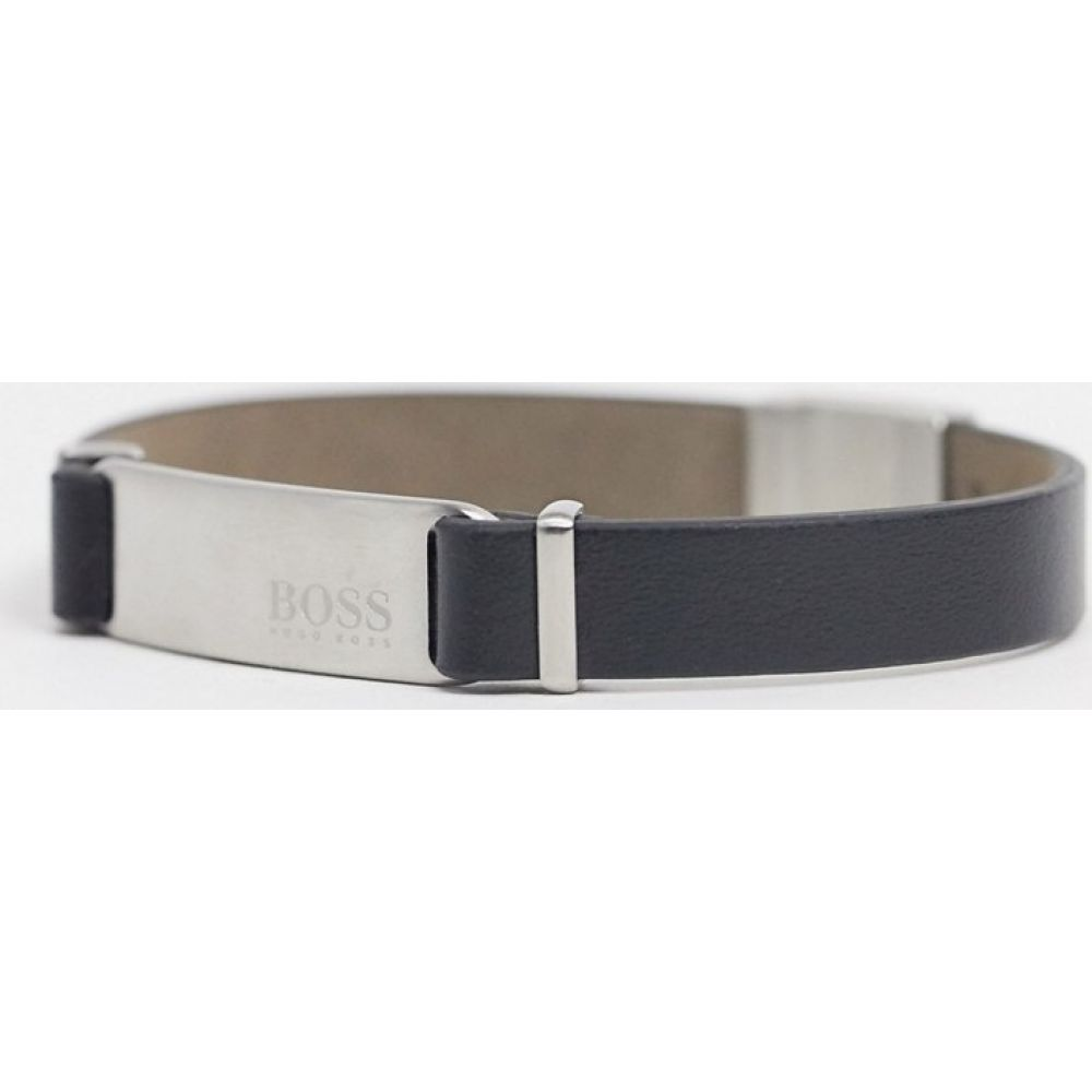 ヒューゴ ボス BOSS メンズ ブレスレット ジュエリー・アクセサリー【Hugo Boss black leather bracelet with silver fastening and ID tag】Silver