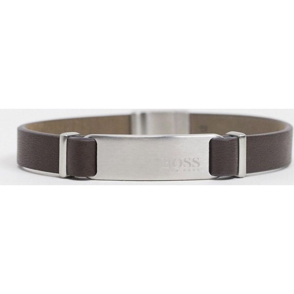 ヒューゴ ボス BOSS メンズ ブレスレット ジュエリー・アクセサリー【Hugo Boss brown leather bracelet with silver fastening and ID tag】Silver