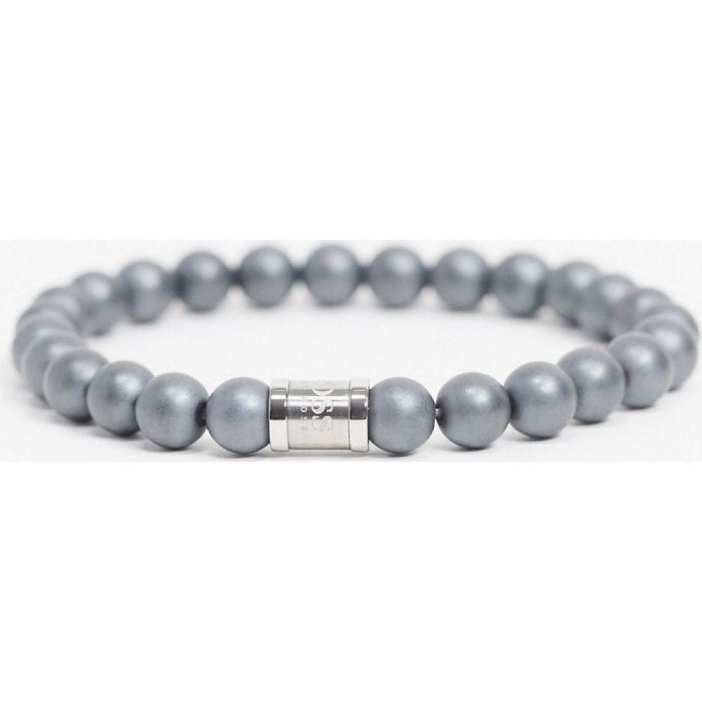ヒューゴ ボス BOSS メンズ ブレスレット ジュエリー・アクセサリー【Hugo Boss beaded bracelet in grey with magnetic clasp】Navy