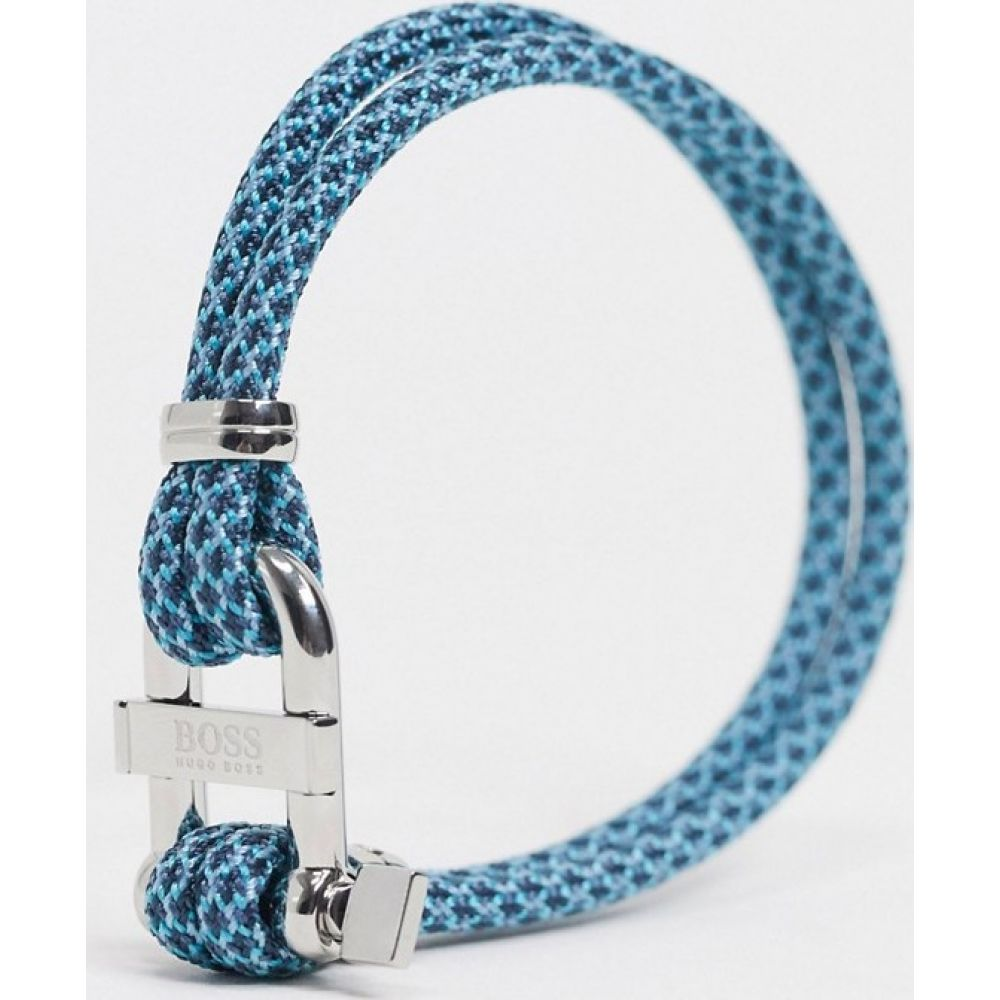 ヒューゴ ボス BOSS メンズ ブレスレット コードブレスレット ジュエリー・アクセサリー【Hugo Boss cord bracelet in blue with metal fastening】Navy