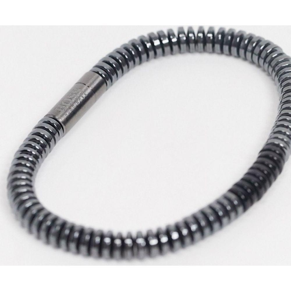 ヒューゴ ボス BOSS メンズ ブレスレット ジュエリー・アクセサリー【Hugo Boss beaded bracelet in grey and black with magnetic clasp】Black